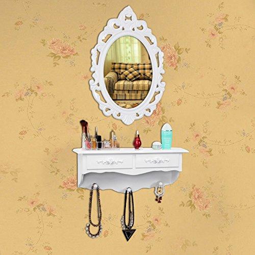 Songmics kleine Schminktisch 2 Schubladen Wandkonsole mit Spiegel, Haken Landhaus weiß RDT16W - 4