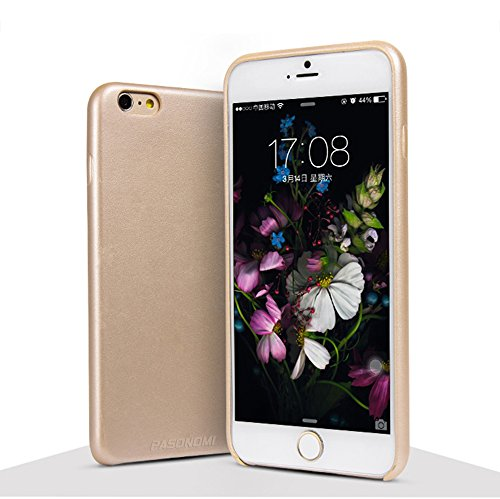 iPhone 6 Plus Hülle, Pasonomi® Premium Ultradünnes Leder Case Cover für Apple iPhone 6 Plus 5.5 Zoll - Leder Hülle mit lebenslanger Garantie (iPhone 6 Plus 5.5 Zoll, Braun) Gold
