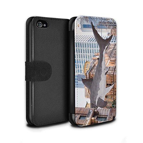 Stuff4 Coque/Etui/Housse Cuir PU Case/Cover pour Apple iPhone 4/4S / Travaux Routiers Design / Vers Bas Sous Collection Attaque de Requin