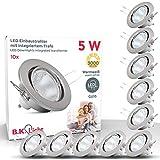 Faretti LED da incasso orientabili da soffitto, include 10 lampadine LED GU10 da 5W, diametro foro 68mm, set da 10, luce calda, plafoniera ad incasso, matallo colore nickel opaco, 230V IP23