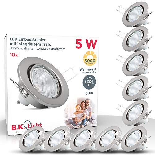 LED Einbaustrahler Schwenkbar Inkl. 10 x 5W 400lm GU10 Leuchtmittel 3000K warmweiss IP23 LED Einbauleuchte