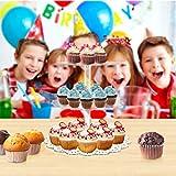 BESTONZON Tortenständer mit 3 Etagen, Desserts, Cupcakes, Ständer und Obstteller, Party-Servierplatte, für Geburtstag, Unkrautparty (rund) - 7