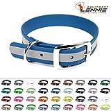 LENNIE BioThane Halsband, Dornschnalle, 25 mm breit, Größe 50-58 cm, Azurblau-Reflex, Aufdruck möglich, 4 Größen, 48 Farben, Hundehalsband