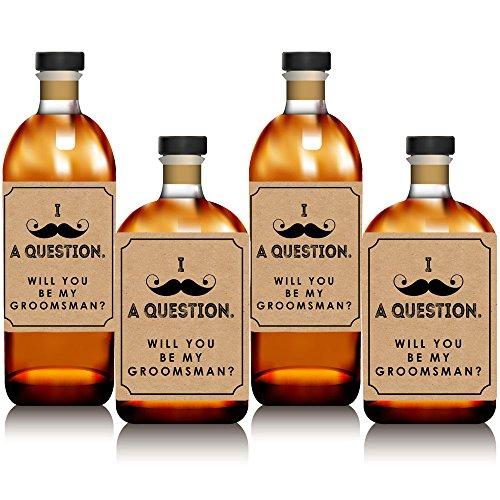 Kraft Moustache-Will You BE My Groomsman Whisky ou étiquette de bouteille de vin Stickers-Lot de 4 (Bottle Labels Whiskey)