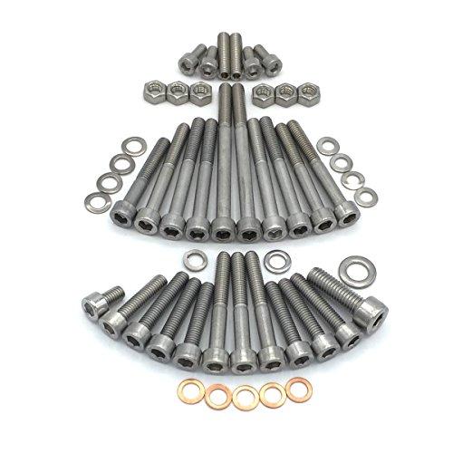 KR51/1 S Zylinderschrauben mit Innensechskant aus Edelstahl V2A für Motoren der Baureihe M53/11 AR (Schwalbe mit Kupplungsautomatik) 3-Gang-Getriebe, Kickstarter, Fußschaltung, Gebläse gekühlt, inkl. Schrauben und Muttern für Kickstarter, Grundplatte, Lüfterrad, Zylinderdeckel sowie Gewindestifte für Fußschaltmechanismus und Kupfer Dichtungen, 50 teilig