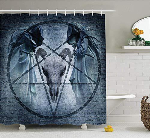 Horror House Decor Shower Curtain, Artwork with Pentagram Icon Goat Skull Devil Dream Hoody Figure Exorcist Image Fabric Bathroom Decor Set with Hooks, 66x72 inches Extra Long, Blue