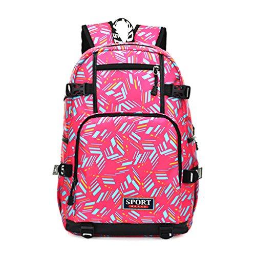 Vbiger Zaino per scuola casual Impermeabile Daypack da viaggio per uomini e donne(Rosa)