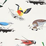 Cream with colorful bird animal organic poplin fabric from the USA (per 0.5m unit)