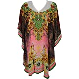 Boho Chic Designs Women's Martina Kaftan Pink Short Swimsuit Coverup Dress One Size