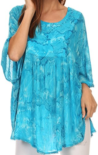Blusen Für Poncho Damen (Sakkas 16031 - Cleeo lange, breite Krawatten-Spitze gestickte Sequin Poncho Bluse Top Cover Up - Türkis - OS)