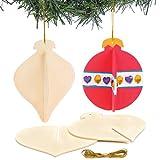 3D-Weihnachtskugeln aus Holz für Kinder als Weihnachtliche Bastel- und Deko-Idee für Jungen und Mädchen (6 Stück)