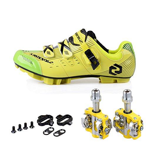txj Mountain VTT Vélo de chaussures chaussures de sport avec pédales SD-003 Gelb / Grün, pedale Gelb