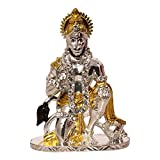 Art N Hub Brass 24K Gold Plated & Silver Plated With Stones Hindu God Hanuman Car Dashboard Idol Lord Mahavir Statue