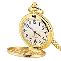 Alinory 3Colors Classical Quartz Analog Smooth Pocket Watch Necklace Pendant with Chain(Gold)
