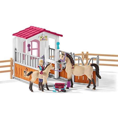 """Preisvergleich Produktbild Schleich 42369 """"Pferdebox mit Arabern und Pferdepflegerin"""" Spielzeug"""