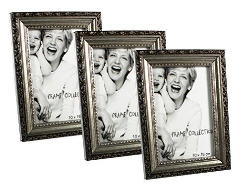 com-four® 3-teiliges Set Bilderrahmen, Fotorahmen - Stilvoller Rahmen für Ihre Lieblingsbilder (03 Stück - 10x15 cm Antik) (Bilderrahmen Antike Kleine)