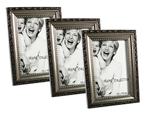 COM-FOUR® Bilderrahmen Fotorahmen - Stilvoller Rahmen für Ihre Lieblingsbilder (10x15 - 3er Set Antik)