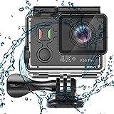 Mengen88 Telecamera d'azione Wi-Fi, camma autoscatto 4K 4K Video subacqueo con Schermo da 2 Pollici Telecomando 2.4G e Custodia Impermeabile, per l'immersione a Cavallo