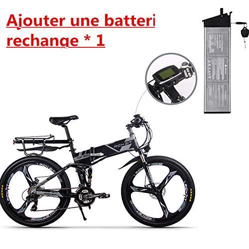 RICH BIT RT 860 e-Bike Electrique Adulte Batterie li-ION 36v*12.8AH vélo de Montagne Pas 250w Moteur LCD Smart E-Bike 26 Pouces Pliant Bike (Gris(Deux Batterie))