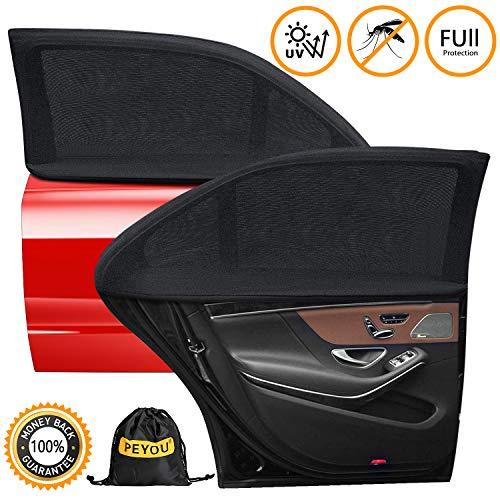 PEMOTech Sonnenschutz Auto Baby (2 Stück), [flexibel] [dehnbaresNetz] Auto-Hinterseitenfenster Sonnenblenden für Baby, Ihre Baby/Kinder werdenvorSonnengeschützt, geeignetfür Autos-(114 * 45 cm)