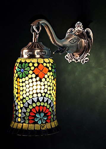 Handmade Pendant Wall Light Fixtures Glass Mosaic Lamp Shade 25 x 23 Cm