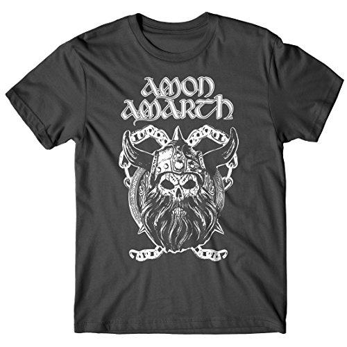T-shirt Uomo Amon Amarth - Viking Skull - Maglietta 100% cotone LaMAGLIERIA, S, Grafite