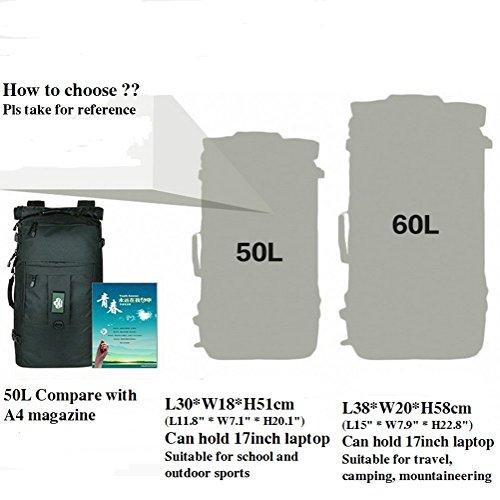 Unisex Outdoor Sports Multifunktional Military Tactical Rucksack für Wandern Reisen Camping Bergsteigen 50L/60L Wasserabweisende Rucksack Duffle Bag, mit 15bis 17Laptop Zwischenschicht Khaki