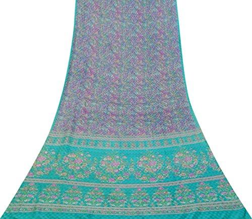 Vintage Indian Reine Seide Multicolor Floral Saree Printed Ethnische Craft Fabric