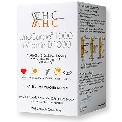 UnoCardio 1000 + Vitamin D 1000 - Omega 3 Kapseln hochdosiert