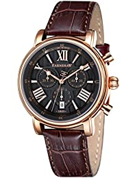 Thomas Earnshaw Men's Swiss Made Chronograph Longcase Quartz Watch with Grey Dial Analogue Display and Brown Leather Strap ES-0016-04
