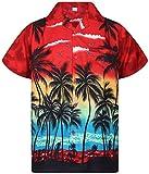 Original King Kameha | Funky Hawaii Camicia | Uomo | XS-6X L | Breve Braccio | Front della Stampa del | Hawaii | Spiaggia Palme Mare | Rosso Rot XX-Large