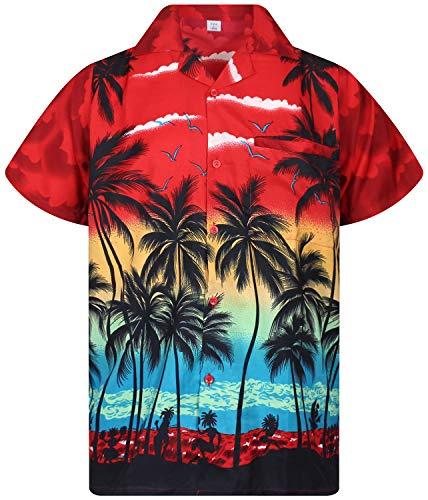 V.H.O. Funky Hawaiihemd, Kurzarm, Beach, rot, 5XL (Herren Gonzo Kostüm)