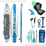 Bluefin SUP Cruise, Tavola da Surf con Kit di trasformazione in Kayak Rigido Monoposto (seggiolino, pagaia, Pompa, Sacca Trasporto) Unisex, Blu (Blue), 15'