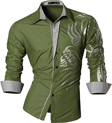 jeansian Herren Freizeit Hemden Shirt Tops Mode Langarmlig Men's Casual Dress Slim Fit Z001_ArmyGreen L
