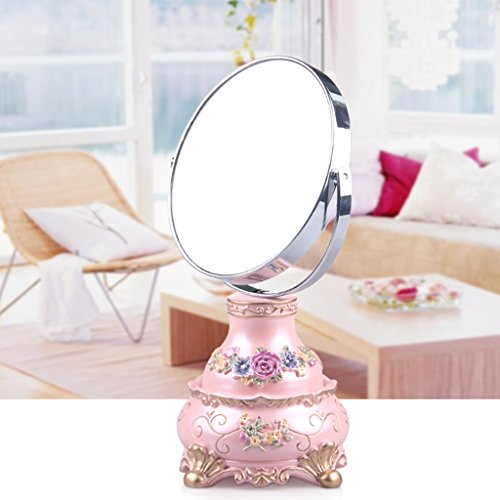 JILAN HOME Mirror- Makeup Desktop Dressing Spiegel Harz 6 Zoll High-Definition Doppelseitige Verstellbare Runde Tragbare Spiegel Beauty Vanity Spiegel zu Fuß Stand mirror ( Farbe : Pink )