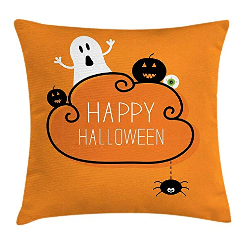 Halloween Throw Pillow Cushion Cover, Ghost Pumpkin Eyeball and Hanging Spider Simplistic Happy Halloween Items, Decorative Square Accent Pillow Case, 18 X 18 Inches, Orange Black White
