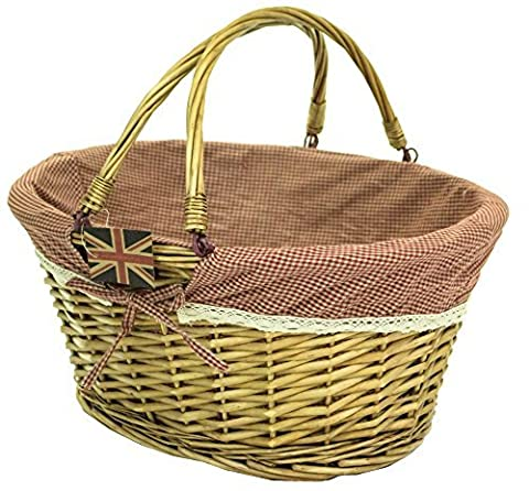east2eden Honey Wicker Willow Shopping Hamper Basket with Red Gingham & Lace Liner In Choice of Deals (Single Basket) by east2eden