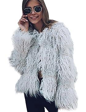 LLQ Abrigo para Mujer Invierno Piel Abrigo Pelo Ropa Encapuchado Chaqueta Piel Long Section Felpa Ropa Caliente...