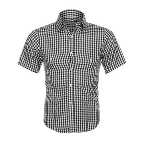 MEIbax Clearance Herren Klassisches Kariertes Hemd Sommer Kurzarm Shirt (Schwarz, XL)