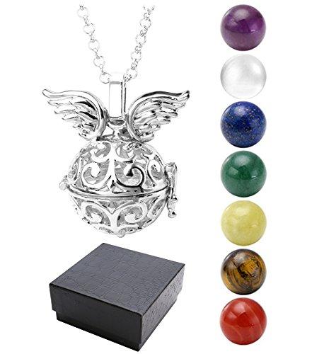 Jovivi - Ciondolo chiama angeli a forma di gabbia alata, con 7 pietre; diametro: 16mm; catenina: 71cm