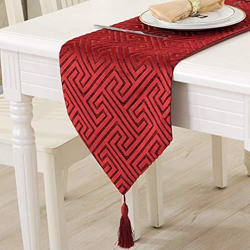 BYBAY Tischläufer Quasten Moderne Feste Labyrinth Bedruckte Textilien Qualität Bed Side für Hochzeit Dinning Home Cafe Hotels Decor, Rot, 32x200 cm (Halloween Hoteles Fiesta En De)