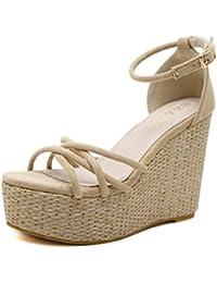 ZHZNVX Fondo spesso pendenza con sandali donna estate NUOVO STILE Taiwan  impermeabile ad alta con le scarpe e versatile scanalati… 8859f4d608c