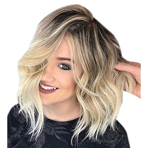 La miscela naturale colora orafa capelli corti ricci parrucca sintetica da donna piena parrucca