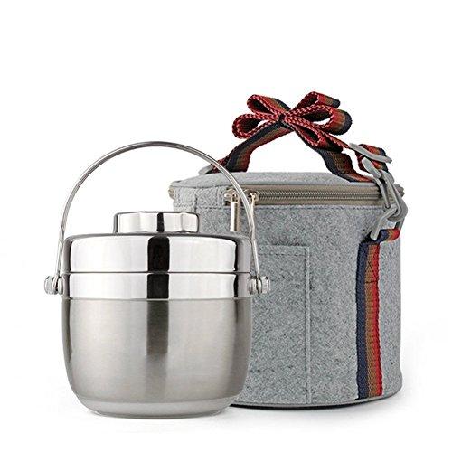 Lunch-Boxen Isolierte Lunchbox, Edelstahl Vakuum Bentos/Food Carrier/Food Behälter/Taffin Lunchbox Container Portion Control Container, halten warm für 3 Stunden (Silber, 1.5 L) -