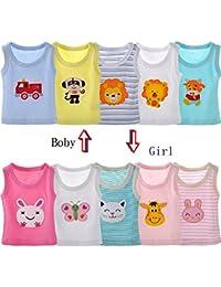 qiyushow bebé niños niñas cartoon camiseta sin mangas para Tops