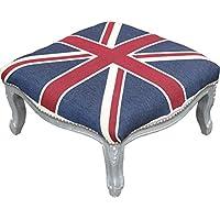 Comparador de precios Casa-Padrino Barroco XXL otomana Unión Mod3 Jack/Plata - Heces Bandera Inglés - Estilo Antiguo Inglaterra - precios baratos