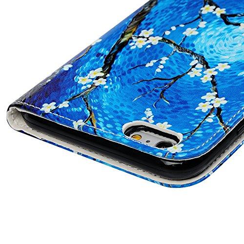 Badalink Hülle für iPhone 6 Plus / iPhone 6S Plus Buntes Rosen Handyhülle Leder PU Case Cover Magnet Flip Case Schutzhülle Kartensteckplätzen und Ständer Handytasche mit Eingabestifte und Staubschutz  Wasser Birne Blume