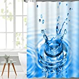 #10: Lushomes Digital Drop Design Shower Polyester Blend Single Curtain with 12 Eyelets and 12 Hooks (71x78 Inch, 180cmx200cm)