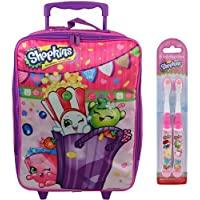 Shopkins 16 inch Rolling Luggage Pilot Case (with 2 ct Shopkins Toothbrushes) - Kids: apple blossom, cupcake chic & poppy corn by Moose Shopkins
