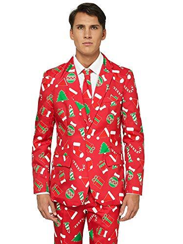 OFFSTREAM Weihnachtsanzüge für Herren in Verschiedenen Drucken - besteht aus Sakko, Hose und Krawatte,Red Icons,60-62 EU/XXL